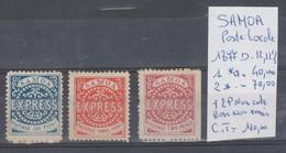 TIMBRE DE SAMOA POSTE LOCALE 1877 D-12,12 1/2 NR 1*a-2* + 2P NON COTE ROSE  DENTELES SUR 3 COTE NON EMIS   COTE 110&euro - Samoa (Staat)
