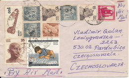India Air Mail Cover Sent To Czechoslovakia  With A More Topic Stamps - India