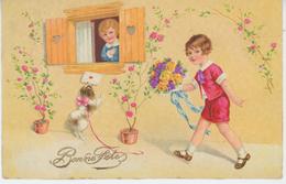 """ENFANTS - LITTLE GIRL - MAEDCHEN - DOG - Jolie Carte Fantaisie Enfants Avec Fleurs Et Chien """"Bonne Fête"""" - AMAG 2665 - Dessins D'enfants"""