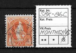 STEHENDE HELVETIA Gezähnt → SBK-86C, MONTHEY/VS 28.XI.84 - 1882-1906 Armoiries, Helvetia Debout & UPU