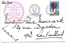- 72 - SOUGE-le-GANELON. - Centenaire Du Dernier Ballon Parti De PARIS Et Atteri à SOUGE-LE-GANELON (1871-1971). - Enve - France