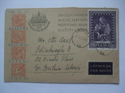 POLAND 1955 ILLUSTRATED KRAKOW FESTIVAL COVER AIR MAIL TO EDINBURGH - 1944-.... Republic