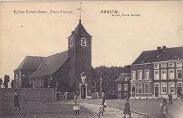Herstal - Eglise Notre Dame, Place Licour  (animée, Photo Breuls, Fabrique De Confections) - Herstal