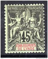 Inde N° 18  X Type Groupe :  45 C. Noir Sur Vert  Trace De  Charnière Sinon  TB