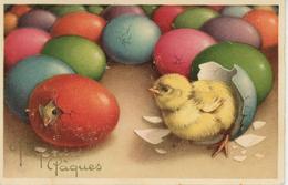 """PAQUES - Jolie Carte Fantaisie Poussins Dans Oeufs  De """"Joyeuses Pâques"""" - Pasqua"""