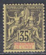 Inde N° 17 (.)  Type Groupe : 35 C. Noir Sur Jaune, Neuf Sans Gomme  Sinon  TB