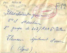 Enveloppe FM 1956 Cachet Rouge Base Ecole Rochefort - Bataillon Air 1/721 - Et Flamme Foire Exposition Rochefort Sur Mer - Lettres & Documents