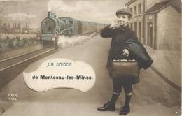 MONTCEAU LES MINES UN BAISER TRAIN CHEMIN DE FER TRANSPORT ENFANT 71 - Montceau Les Mines