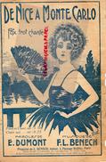 PARTITION MUSICALE-DE NICE A MONTE CARLO- MONACO- FOX TROT- E. DUMONT - MUSIQUE F.L. BENECH-1925-EVENTAIL - Partitions Musicales Anciennes