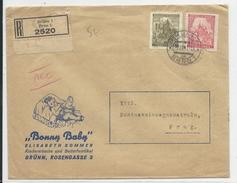 BÖHMEN UND MÄHREN - 1941 - ENVELOPPE PUB DECOREE (BEBE - ENFANCE) RECOMMANDEE De BRNO (BRÜNN)  Pour PRAG - Bohême & Moravie