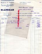 22 - SAINT BRIEUC - FACTURE LUCIEN BAZIN- GLANDMAD- MANUFACTURE BONNETERIE- 10 RUE CHARBONNERIE-1932 - France