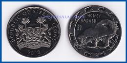 SIERRA LEONE  2008  PROOF F.D.C. 1 DOLLAR  CUPRO-NICKEL  ANIMAL  HONEY BADGER  RATEL - Sierra Leone