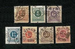 SVERIGE 1872-77 - Numerals In Circle - 3, 5,6,12,20,30,50 öre - Yv: SE 16,18,19,20,21,23,24 - Suède