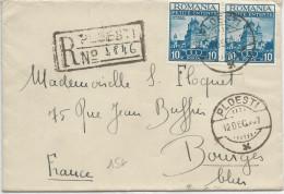 ROUMANIE - 1938 - ENVELOPPE RECOMMANDEE De PLOESTI Pour BOURGES (FRANCE) - - Marcofilia