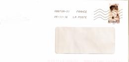 """ENVELOPPE   AVEC   TIMBRE LETTRE VERTE """"PORTRAITS AUTOPORTRAITS""""  ANNEE 2016 OBLITERE - France"""