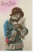 """FEMMES - FRAU - LADY - DOG - Jolie Carte Fantaisie Portrait Femme Avec Chien """"Bonne Année"""" - Chiens"""