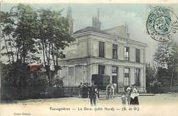 Ref 751- Yvelines - Tacoignieres - La Gare Ligne De Chemin De Fer  -/ -carte Décollée- Voir Dans Description - - Other Municipalities