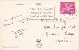 SUISSE 1966       Flamme       Salon De L'Auto Cycle Et Moto    Paris 6-16 Oct.1966     Sur Courrier Monté - Marcophilie