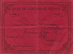 Document Scolaire - Bulletin Au Mérite: Elève Mis à L'Ordre Du Jour - Lycée De Garçons De Rennes - Diploma & School Reports
