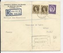 GB - 1965 - ENVELOPPE RECOMMANDEE Du CONSULAT De FRANCE à LONDRES Pour ROYAN - Marcofilie