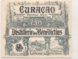 étiquette - Années 1900/1930 ...Distillerie Des Bénédictins Curaçao Triple Sec LIMOGES - Other
