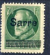 Sarre 1920 N. 19 P 7 E Mezzo Verde MH Cat. € 75 - Nuovi
