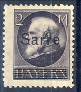 Sarre 1920 N. 28 M. 2 Violetto MH Cat. € 130. Timbro Di Garanzia. Firma Diena - 1920-35 Società Delle Nazioni