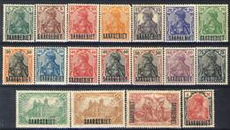 Sarre 1920 Serie N. 32-49 Sovrastampati Saargebiet MNH E MLH Catalogo € 50 - 1920-35 Società Delle Nazioni