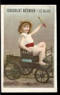 CHROMO Chocolat BESNIER Enfant Sur Une Petite Voiture Voiturette à Cheval Poney - Chocolat