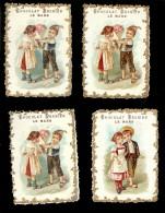 4 CHROMOS Chocolat BESNIER Gauffrées Dorée COUPLE ENFANTS - Chocolate