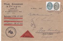 """Briefumschlag Vom """"Preuß. Katasteramt In Usingen"""" - Historical Documents"""