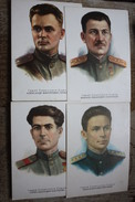 USSR Officer, Soviet Heroes - Military Uniform - Old Soviet Postcard  - 13 PCs Lot - Oorlog 1939-45