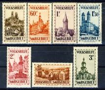 Sarre 1933 Serie Volkshilfe N. 155-161 Vedute Di Monumenti MLH Catalogo € 400 - 1920-35 Società Delle Nazioni