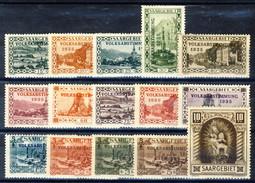 Sarre 1934 Serie N. 173-188 Volksabstimmung MVLH Catalogo € 100 - 1920-35 Società Delle Nazioni