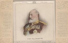 Great Britain King Edward VII 'Fab' Patchwork Card, Silk Attachment, C1900s Vintage Postcard - Familles Royales