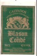étiquette - Années 1970/1999 - CALVADOS  Blason De Condé - Condé Sur Vire - Otros