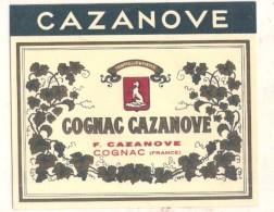 étiquette - Années 1920/1940 - COGNAC - CAZANOVE - AVEC EMBLEME CHIEN - Labels