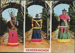 Grote Kaart Dendermonde Ommegang Reuzen Reus Reuzenommegang Mars Indiaan Goliath Folklore Belgique - Dendermonde