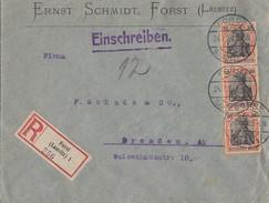 DR R-Brief Mef Minr.3x 89II Forst Lausitz 24.7.20 Gel. Nach Dresden - Deutschland