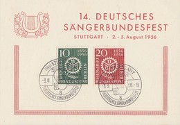 Sonderkarte 14. Dt. Sängerbundesfest Stuttgart 2.-5.8.56 Minr.138,139 SST - Briefe U. Dokumente