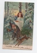 Noël - Forêt Jeune Fille Lièvre Nain  Lutin - Santa Claus