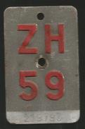 Velonummer Zürich ZH 59 - Plaques D'immatriculation