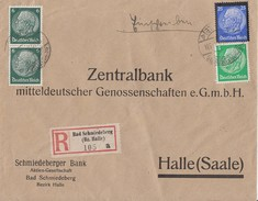 DR R-Brief Mif Minr.515,2x 516,553 Bad Schmiedeberg Gel. Nach Halle - Allemagne