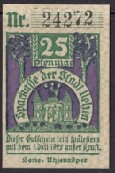 Uelzen, Sparkasse, Gutschein Notgeld 25 Pfennig. 1922, Eule - [11] Emissioni Locali