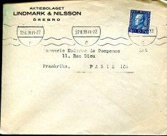 Enveloppe Lindmark & Nilsson à Destination De Paris - Oblitération Orebro Du 22-6-1939 - Sweden