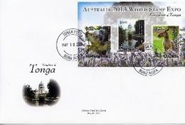 Tonga 2013,  Australia 2013 World Stamp Expo, Koala, Kangoros, BF In FDC - Tonga (1970-...)