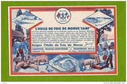 BUVARD  : Huile De Foie De Morue JAMF  Dunkerque  Cochon Poisson Vaches - Animaux