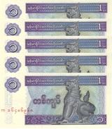 MYANMAR 1 KYAT ND (1996) P-69a UNC THICK PAPER 5 PCS [MM103b] - Myanmar