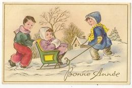 S5622 - Bonne Année - Enfants  - Traineau - Anno Nuovo