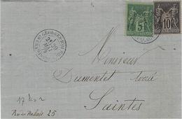1878- Lettre De ST GEORGES-D'OLERON ( Char. Mar; ) Cad T18 Affr. Sage 10 + 5  C. - Storia Postale